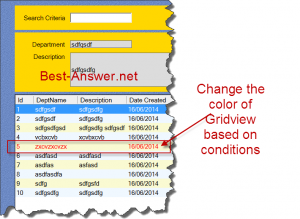 Change the DataGridView Rowcolor conditionally